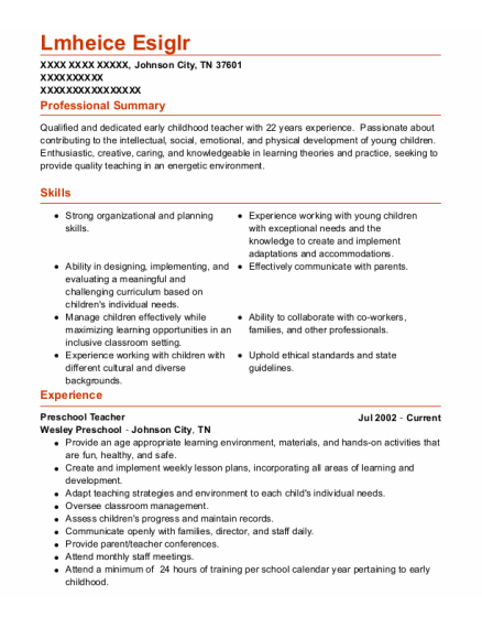 Preschool Teacher resume sample Tennessee