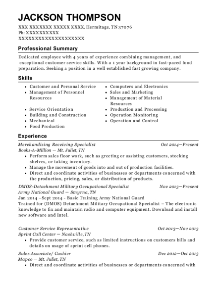 Merchandising Receiving Specialist resume format Tennessee