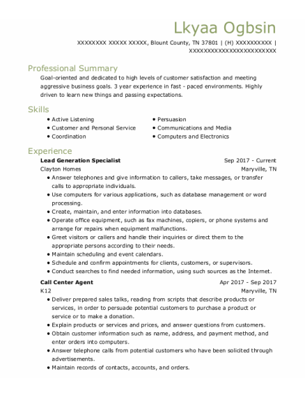 Call Center Agent resume template Tennessee