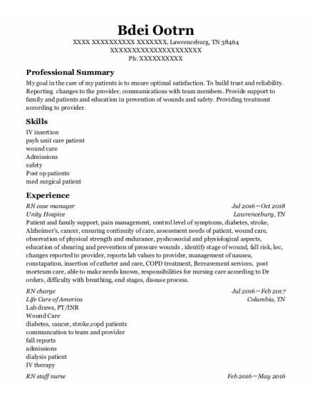 RN case manager resume template Tennessee