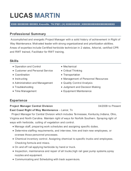 Project Manager Central Division resume format Tennessee