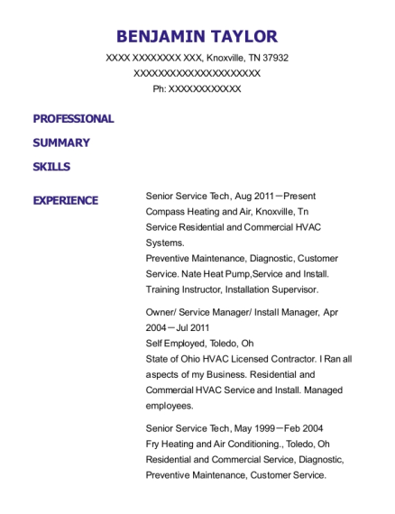 Senior Service Tech resume format Tennessee