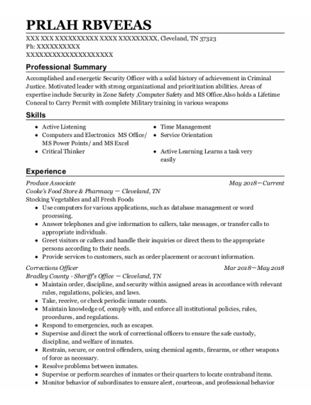 Produce Associate resume format Tennessee