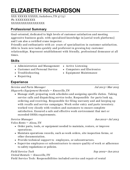 Service and Parts Manager resume format Tennessee