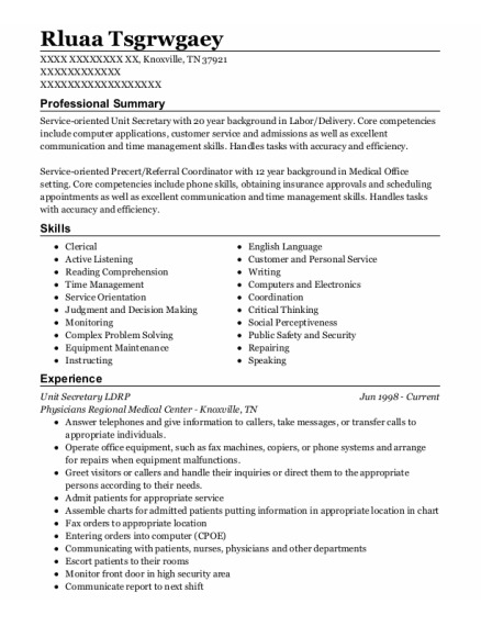 Referral Coordinator resume example Tennessee