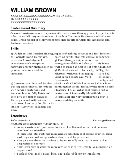 Sales Associate resume example Tennessee