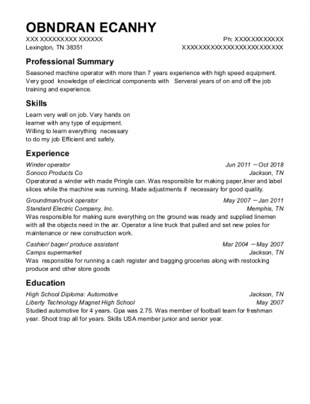 Winder Operator resume sample Tennessee