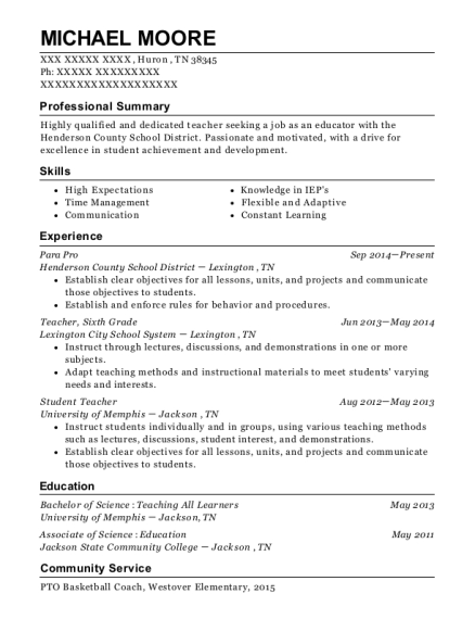 Para Pro resume template Tennessee