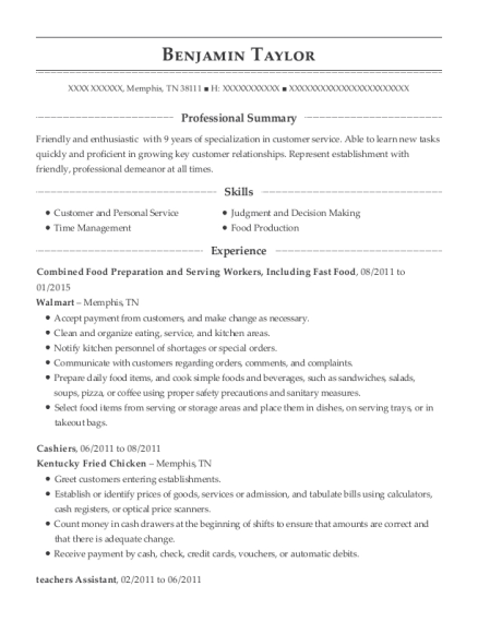 Combined Food Preparation and Serving Workers resume format Tennessee