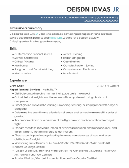 Crew Chief resume sample Tennessee