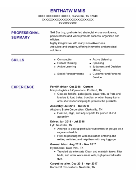 Forklift Driver resume template Tennessee