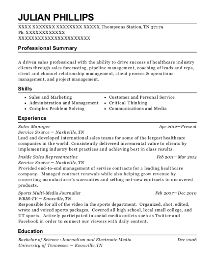 Sales Manager resume example Tennessee