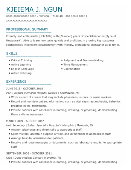 PCA resume sample Tennessee
