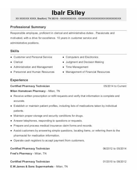 Certified Pharmacy Technician resume sample Tennessee