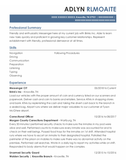 Correctional Officer resume example Tennessee