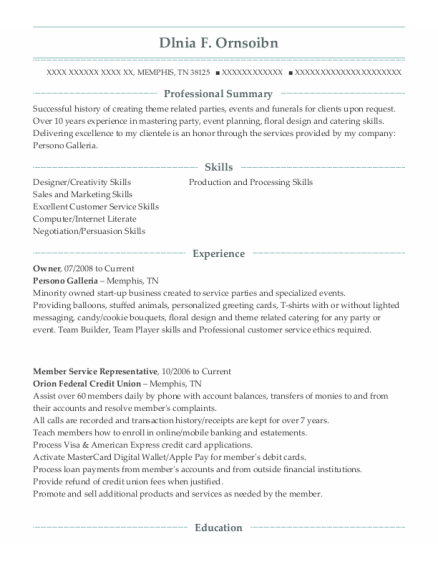 Owner resume template Tennessee