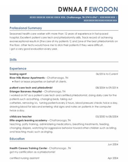 Leasing Agent resume example Tennessee