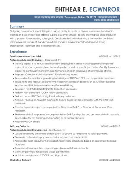 Quality Assurance Specialist resume template Tennessee