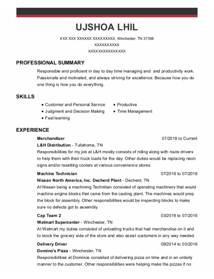 Merchandiser resume template Tennessee