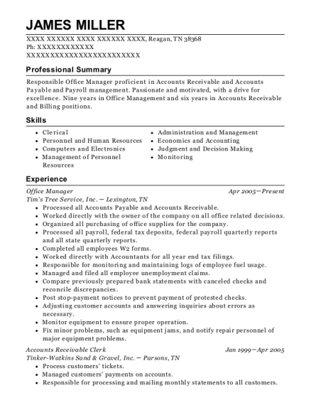 Office Manager resume format Tennessee
