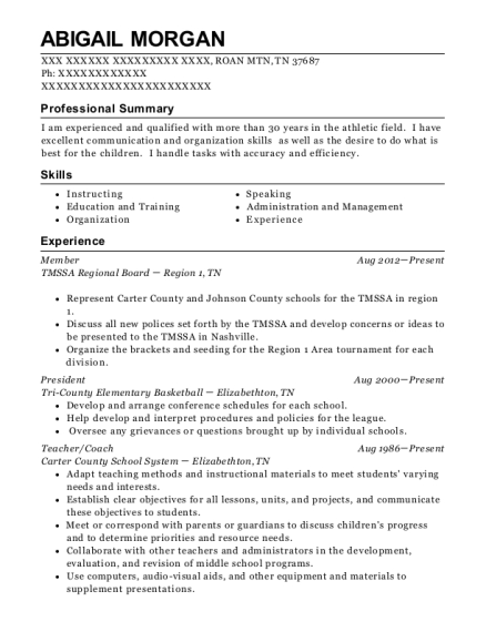 Member resume template Tennessee