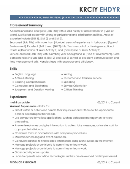 Production resume format Tennessee