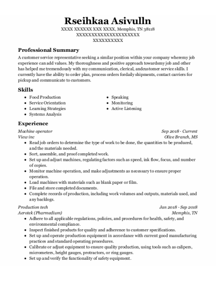 Machine Operator resume example Tennessee
