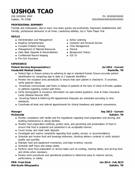 Manager resume sample Tennessee