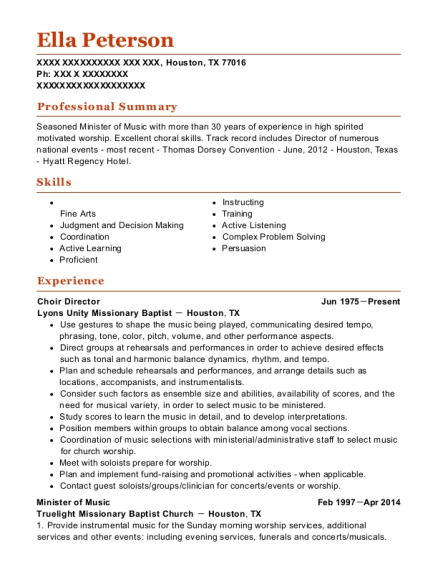Choir Director resume template Texas
