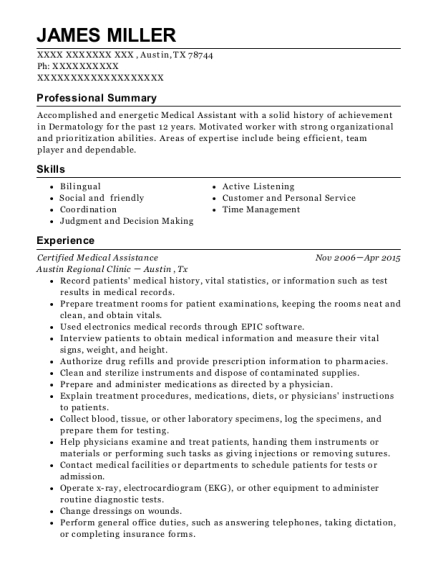 Certified Medical Assistance resume template Texas