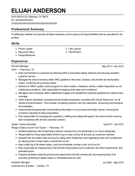 General Manager resume format Texas