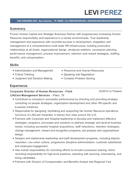 Corporate Director of Human Resources Field resume sample Texas