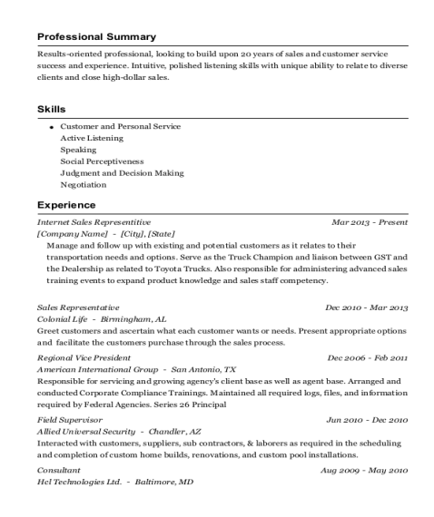 Internet Sales Representitive resume sample Texas