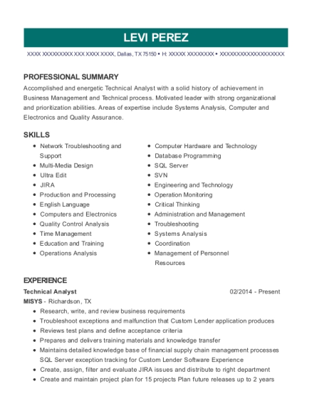 Technical Analyst resume template Texas