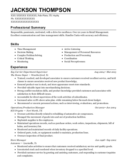 Key Carrier Department Supervisor resume format Texas