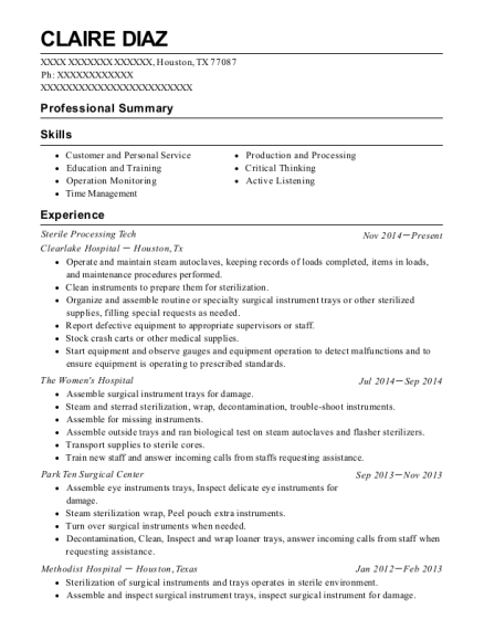 Sterile Processing Tech resume example Texas