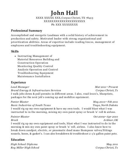 Lead Manager resume template Texas