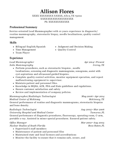 Lead Mammographer resume format Texas