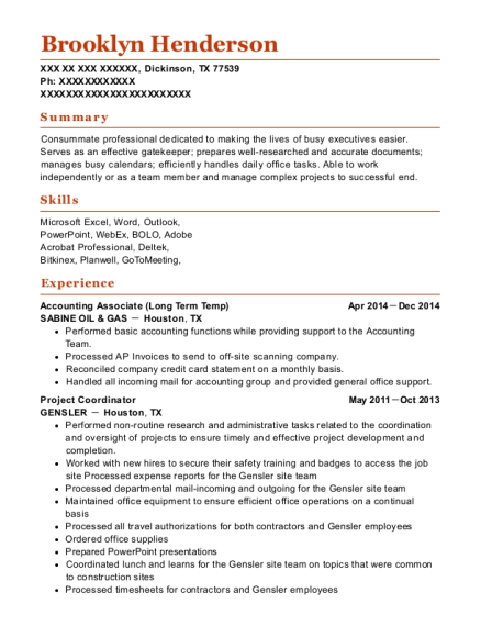 Accounting Associate resume format Texas