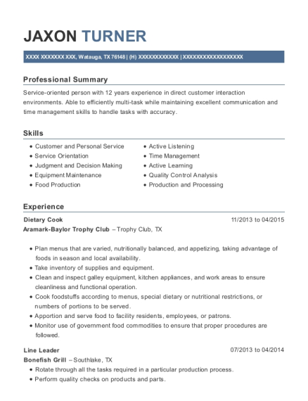 Dietary Cook resume format Texas