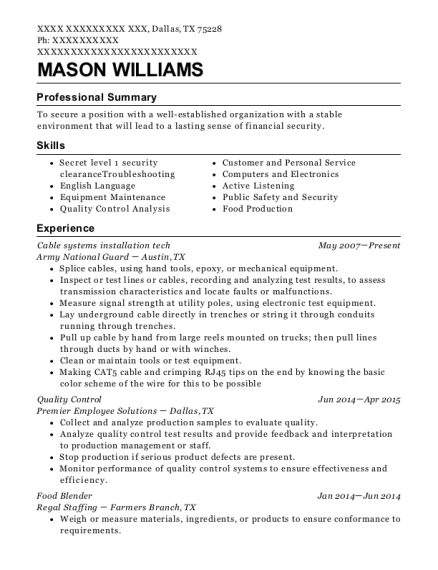Cable systems installation tech resume format Texas