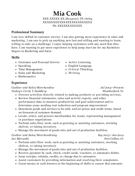 Cashier and Sales resume example Texas