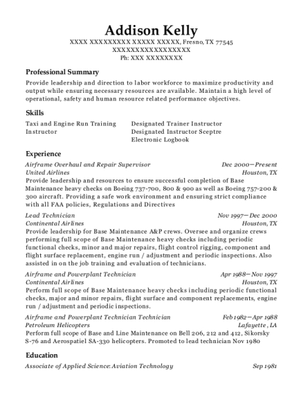 Airframe Overhaul and Repair Supervisor resume template Texas