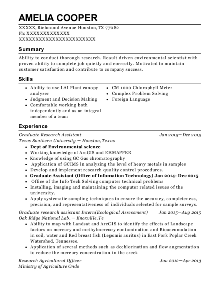 Graduate Research Assistant resume example Texas