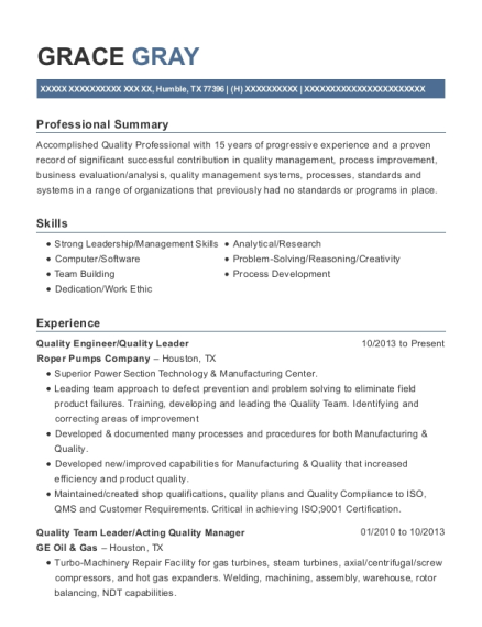 Quality Engineer resume example Texas