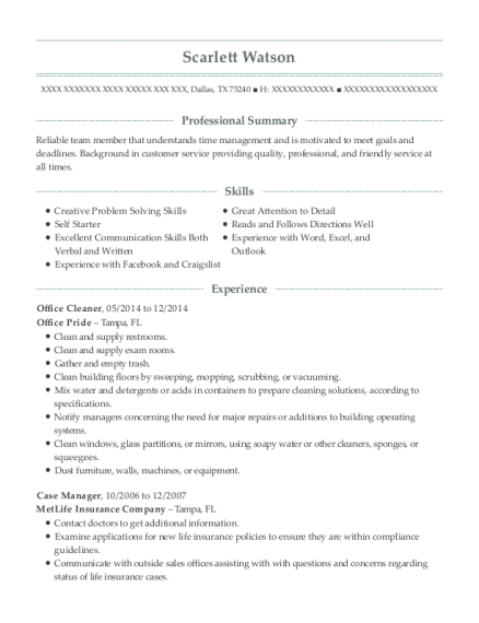 Office Cleaner resume template Texas