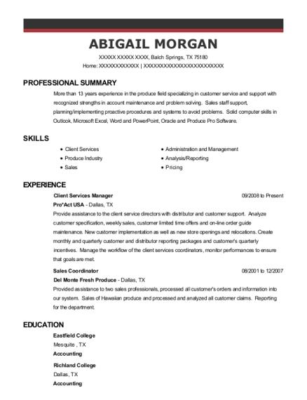 Client Services Manager resume sample Texas
