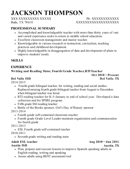Writing and Reading Tutor resume sample Texas
