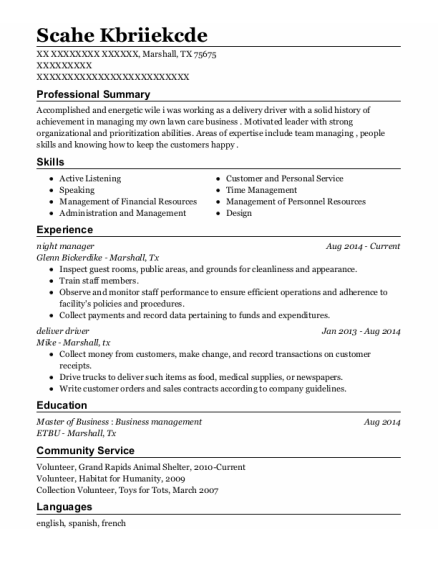 night manager resume format Texas
