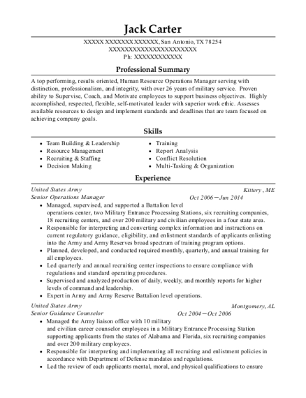 Senior Operations Manager resume template Texas